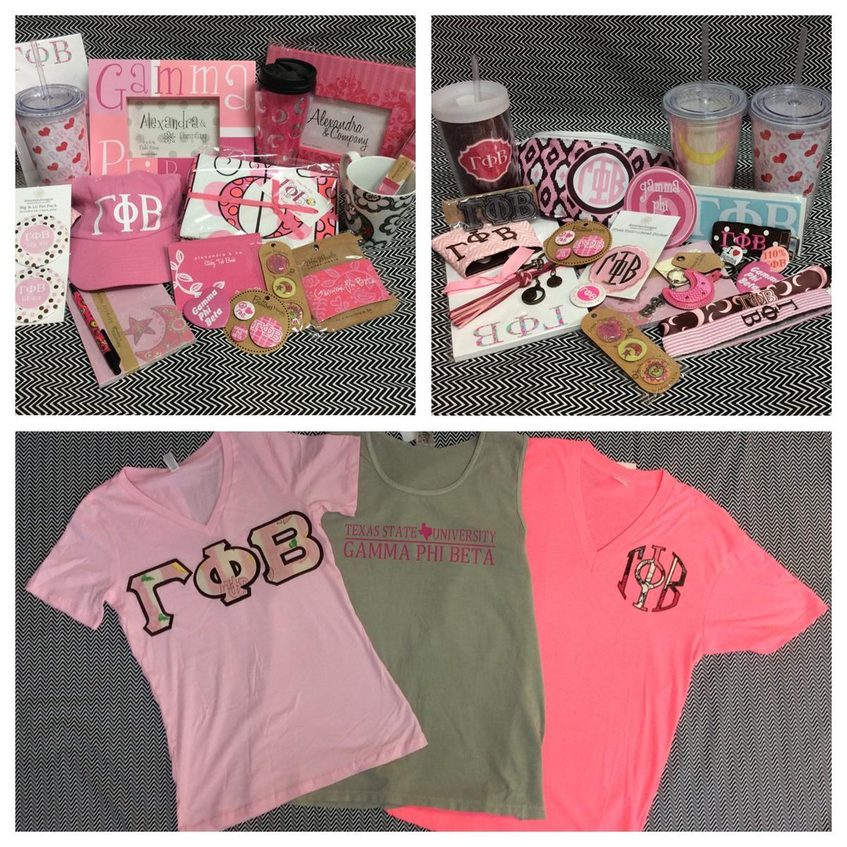Gamma Phi Beta Custom Embroidery T-shirts Accessories Campus Gear Stickers