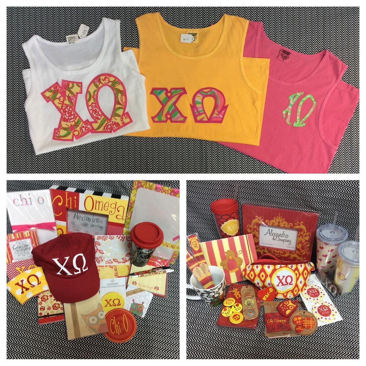 Chi Omega Custom Embroidery T-shirts Accessories Campus Gear Stickers