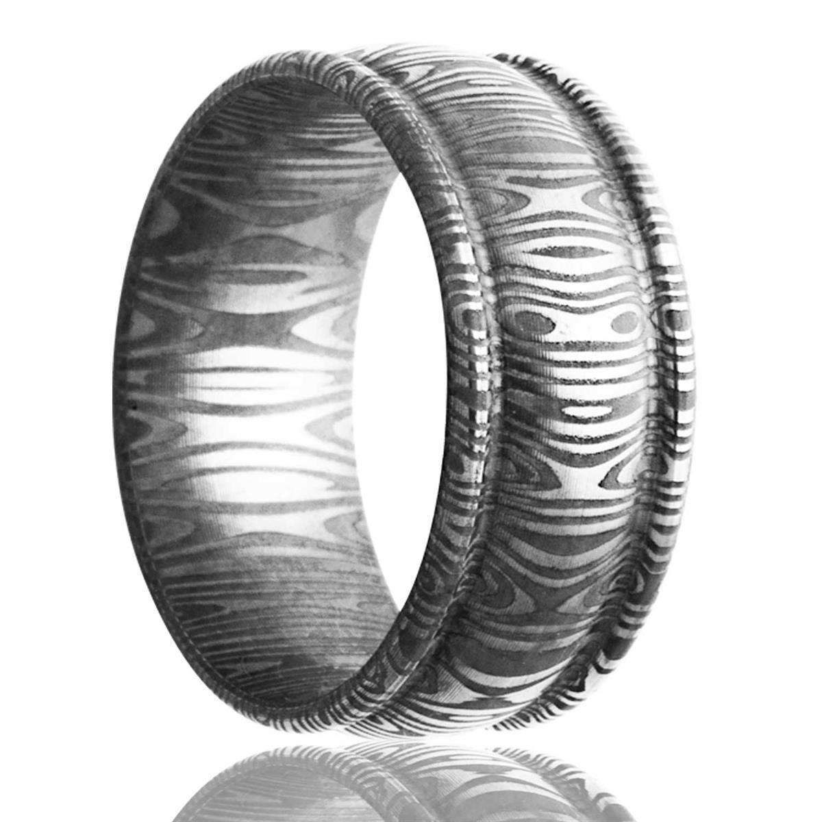 alternative metal, damascus steel, men's wedding ring, kluh jewelers