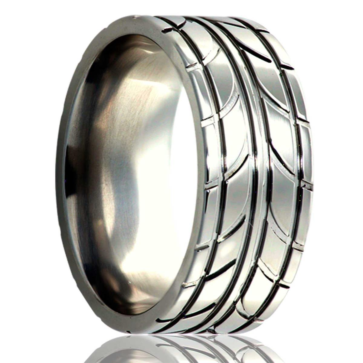 alternative metal, tire tread, men's wedding ring, kluh jewelers