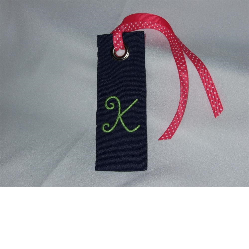 Monogrammed Ribbon luggage tag