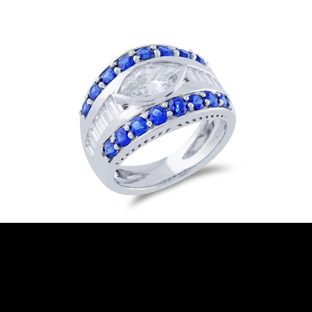 Custom Designed Sapphire and Diamond Ring