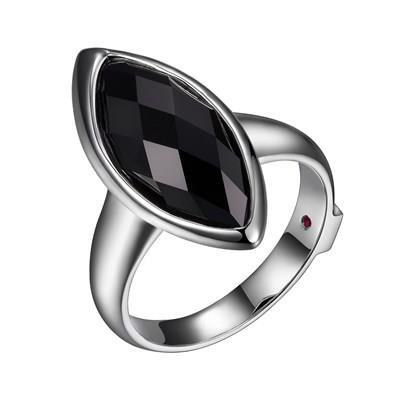 ELLE silver black agate ring