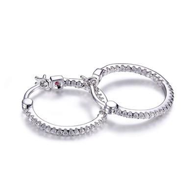 ELLE sterling silver cubic zirconia hoop earrings