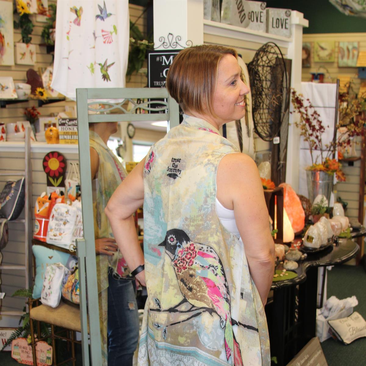 fashion, scarf, vest, layers, bird, birds