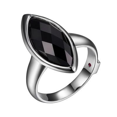 ELLE Black Agate Silver Ring