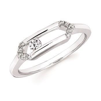 Sliding Diamonds Silver Ring