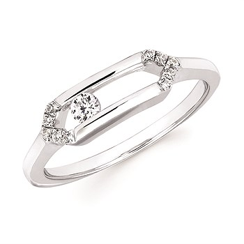 Sliding Diamonds Silver Ring