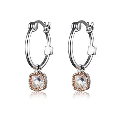 ELLE dangle hoop cubic zirconia earrings