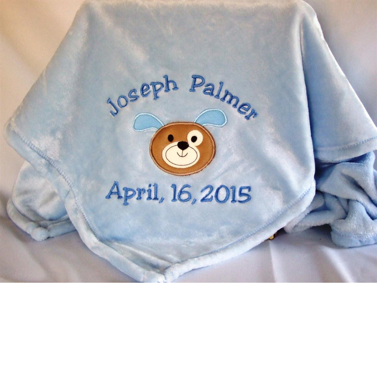 Personalized baby blanket with puppy applique