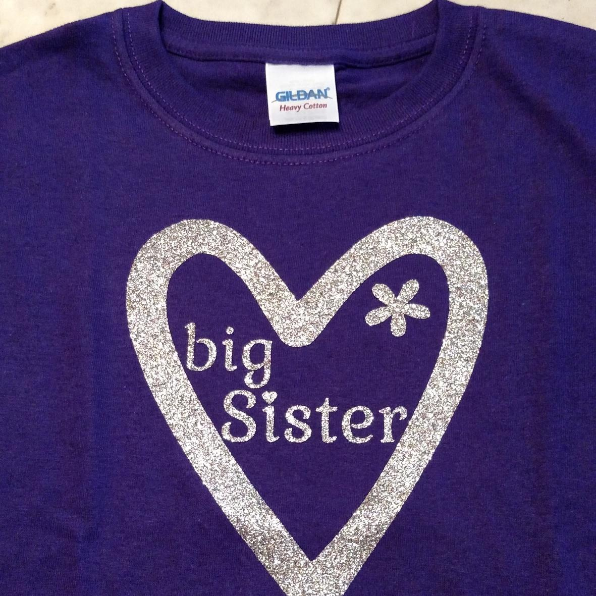 Purple custom youth  tee with glitter heart and big sister