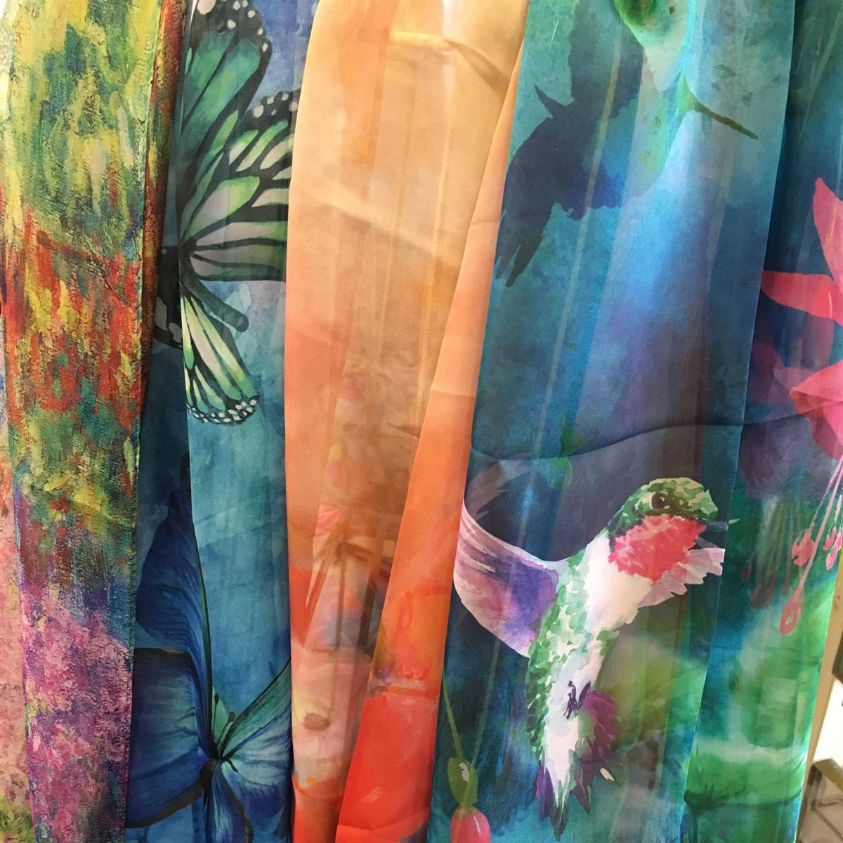 scarf, spring, silk, fashion, hummingbird, butterfly, dragonfly, floral