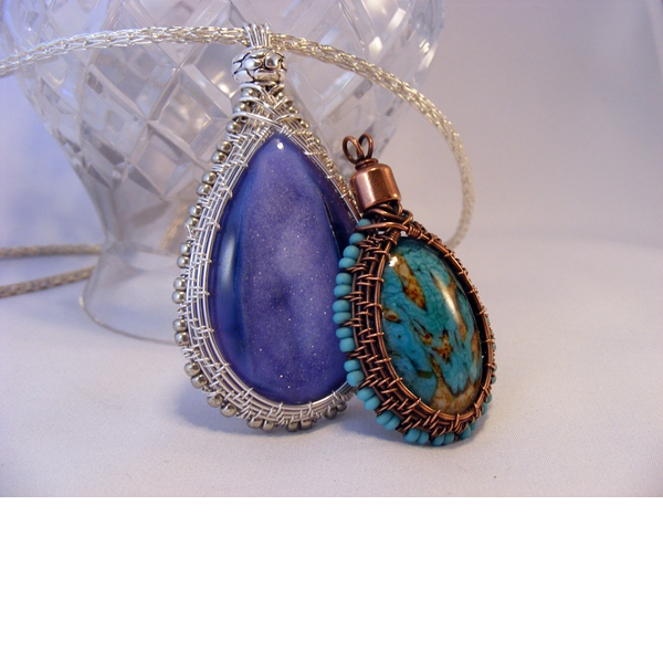 Wrap That Cab!  Woven Wire Bezel Pendant
