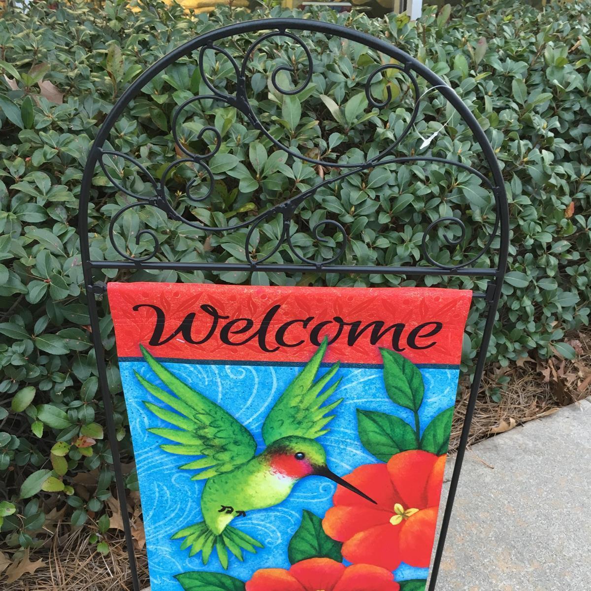 garden flag, hummingbird, welcome, spring