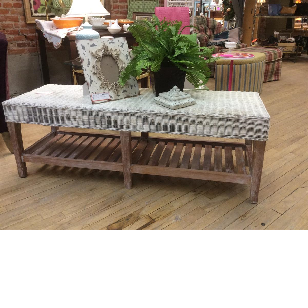Consigned designer bench at Refashion Consigned Furniture and Clothing