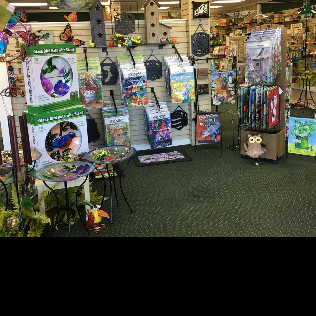 garden flags, bird baths, chimes, welcome mats, gifts, garden