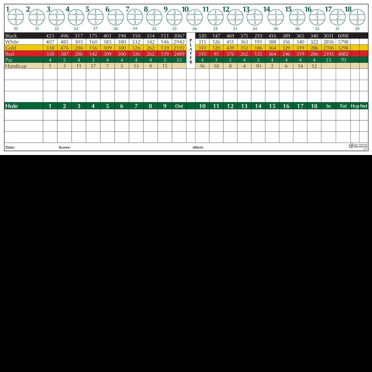 Oakview Golf Club scorecard