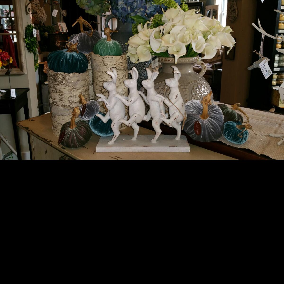 Plush Pumpkin, bunnies, calla lily, Revive & Company