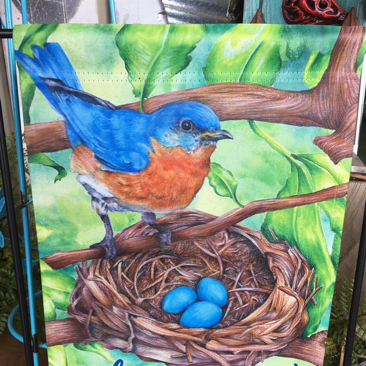 garden flag, bluebird, bless our nest, spring