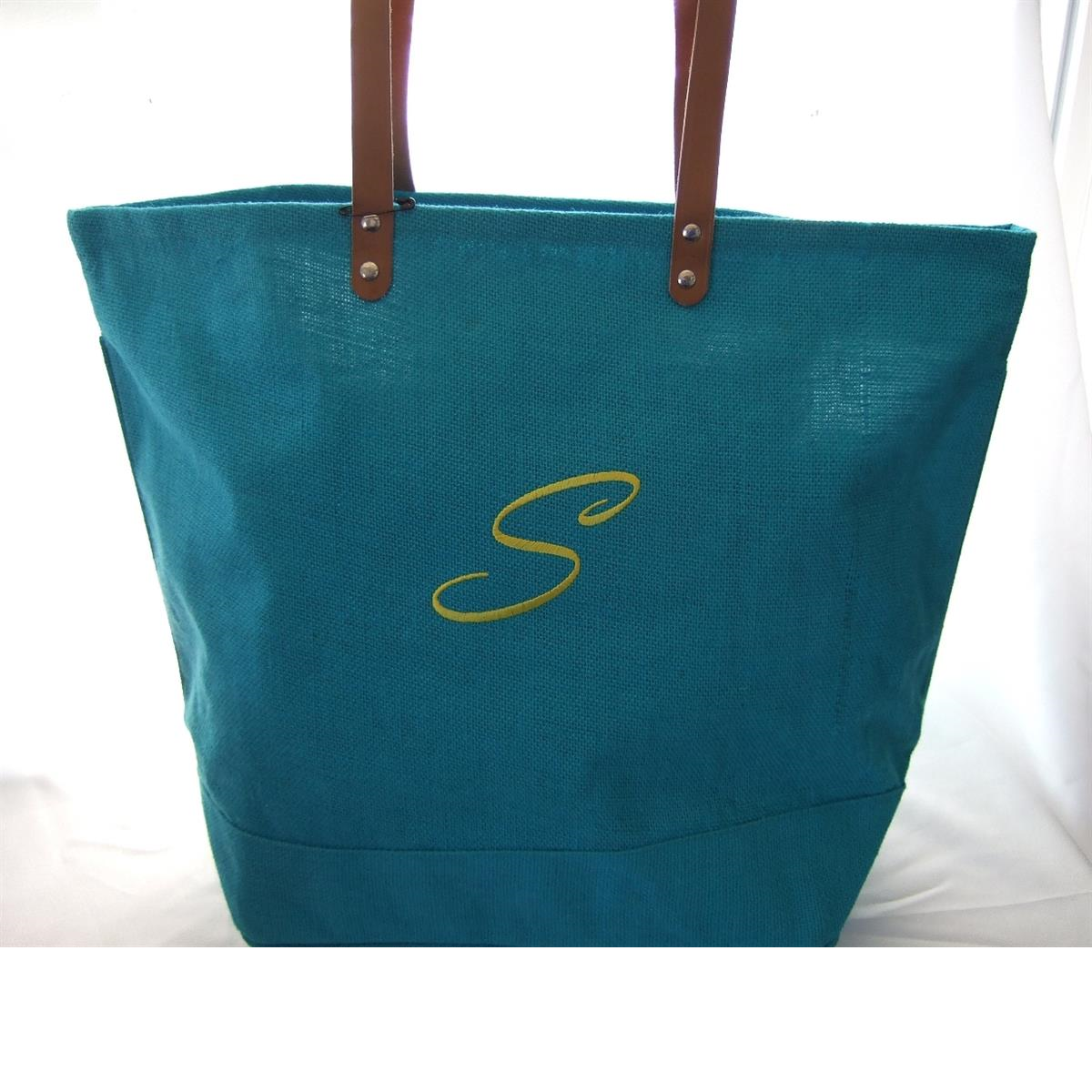 Personalized Jute turquoise tote