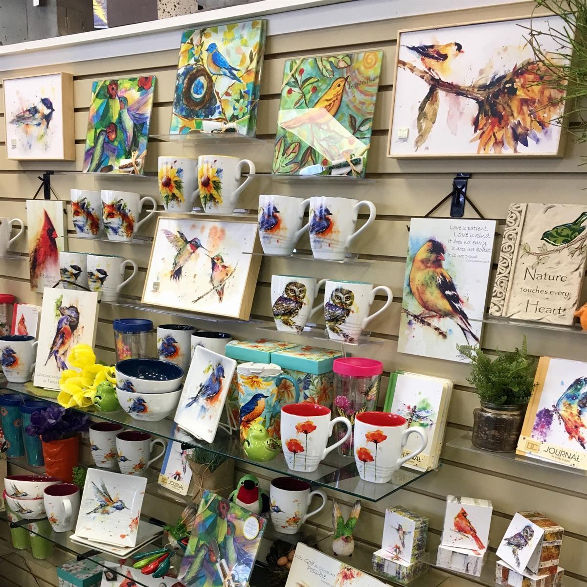 Dean Crouser, plates, art, mugs, bowls, bluebird, hummingbird, cardinal