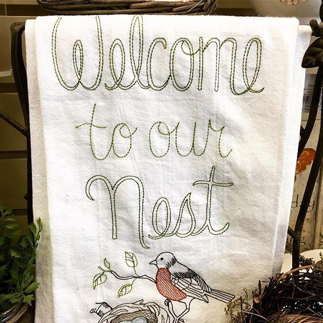 tea towel, gift, gifts, home decor, hostess gift, home, robin, nest, spring