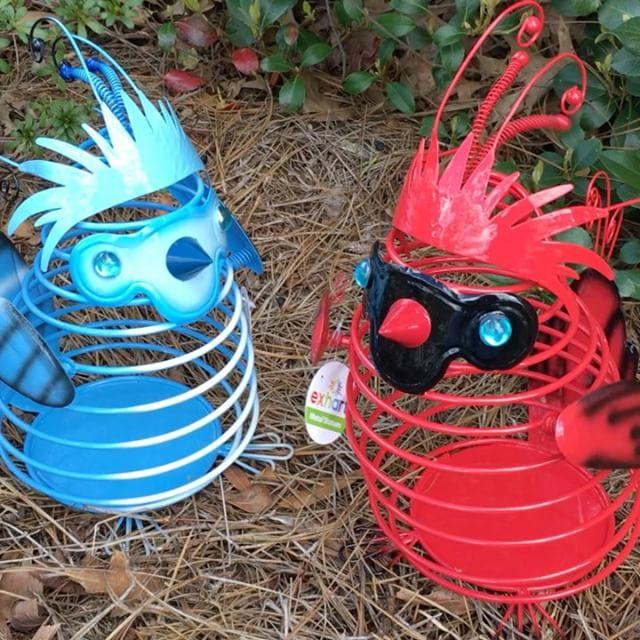 springee cardinal, blue jay, garden art, whimsical