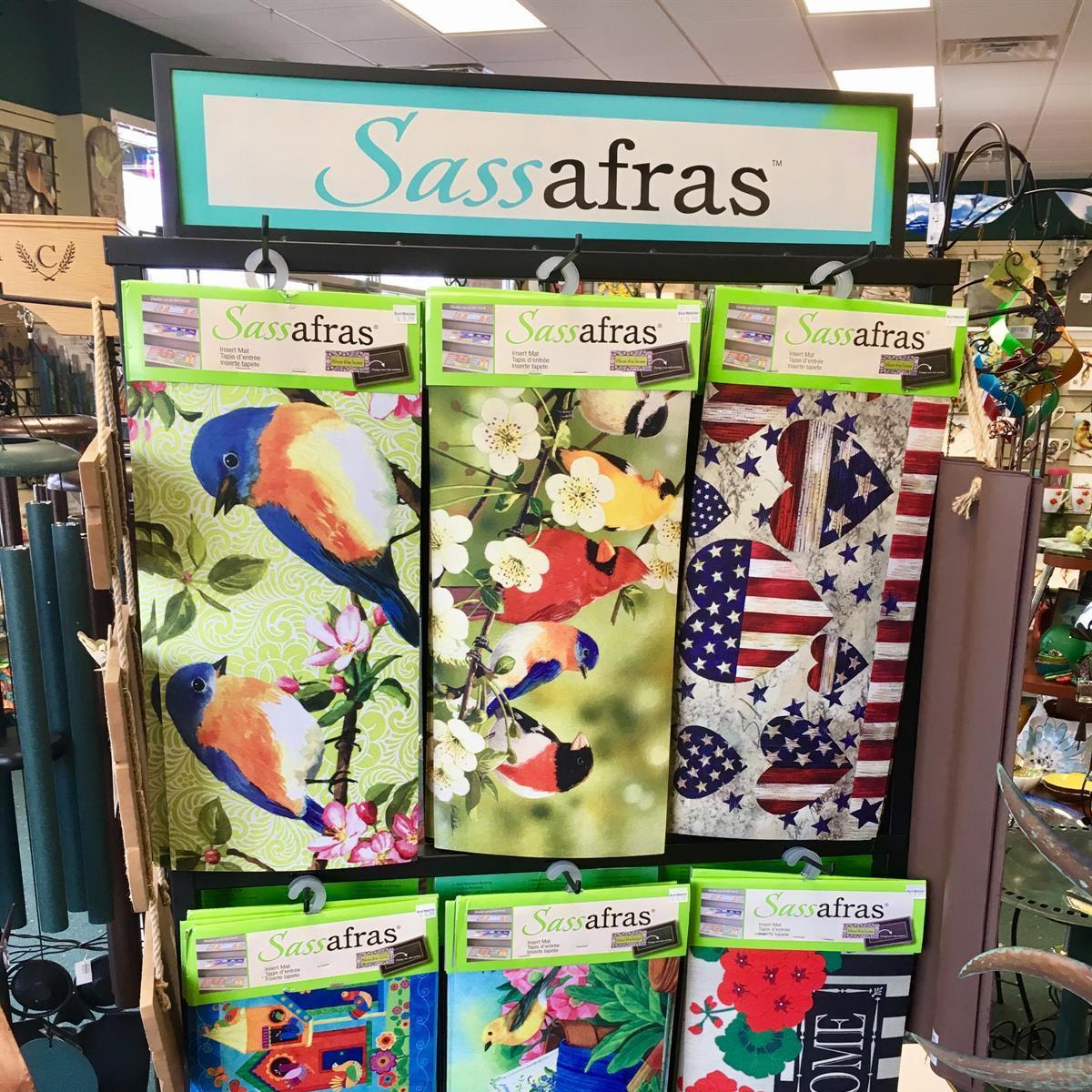 Sassafras, welcome mat, bird, cardinal, dogwood, spring, patriotic, geranium