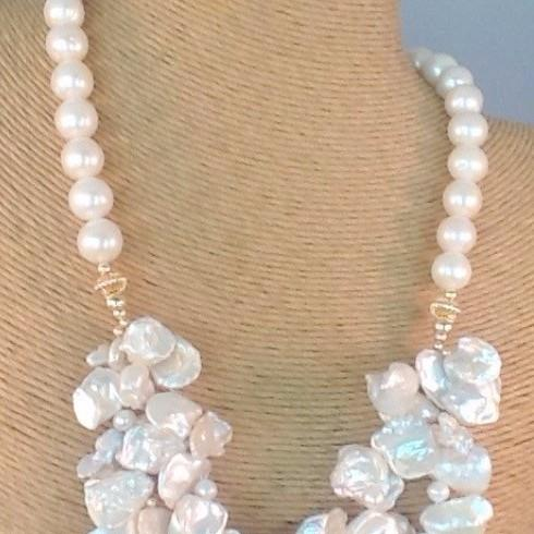 pearl jewelry, freshwater pearls, murano glass jewelry, sea glass jewelry, onyx jewelry, necklace, baroque pearls,keshi pearl