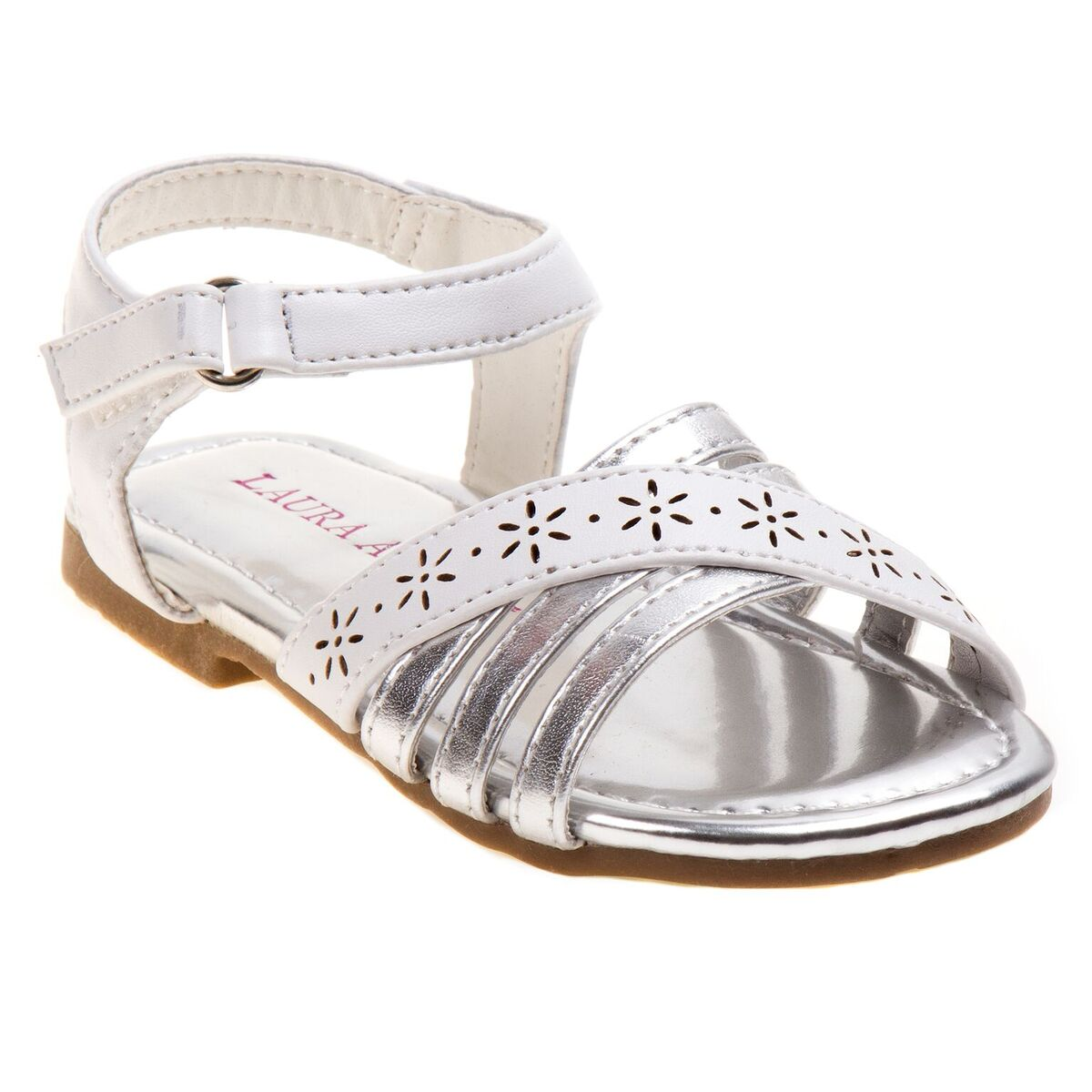 White with Silver Strap Sandal