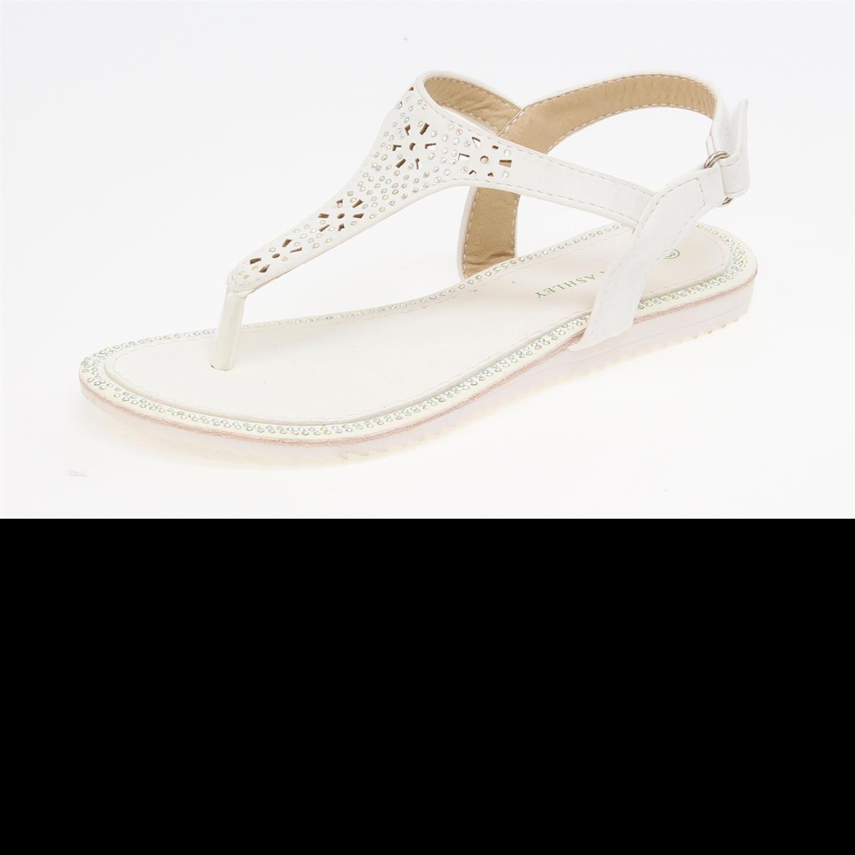 White T Strap Sandal