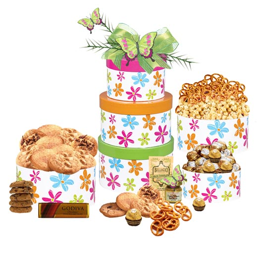 Mother's Day Gift Tower filled with gourmet sweet treats.