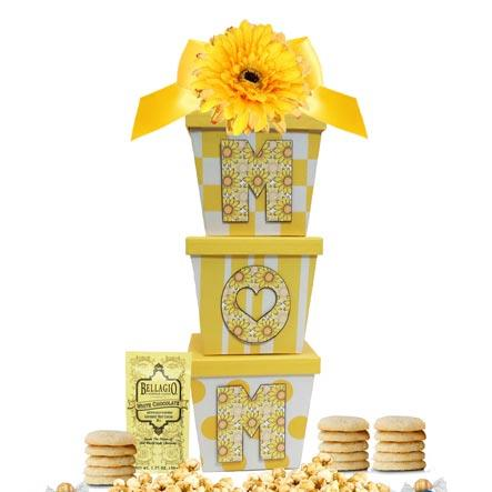 Pretty yellow MOM gift boxes