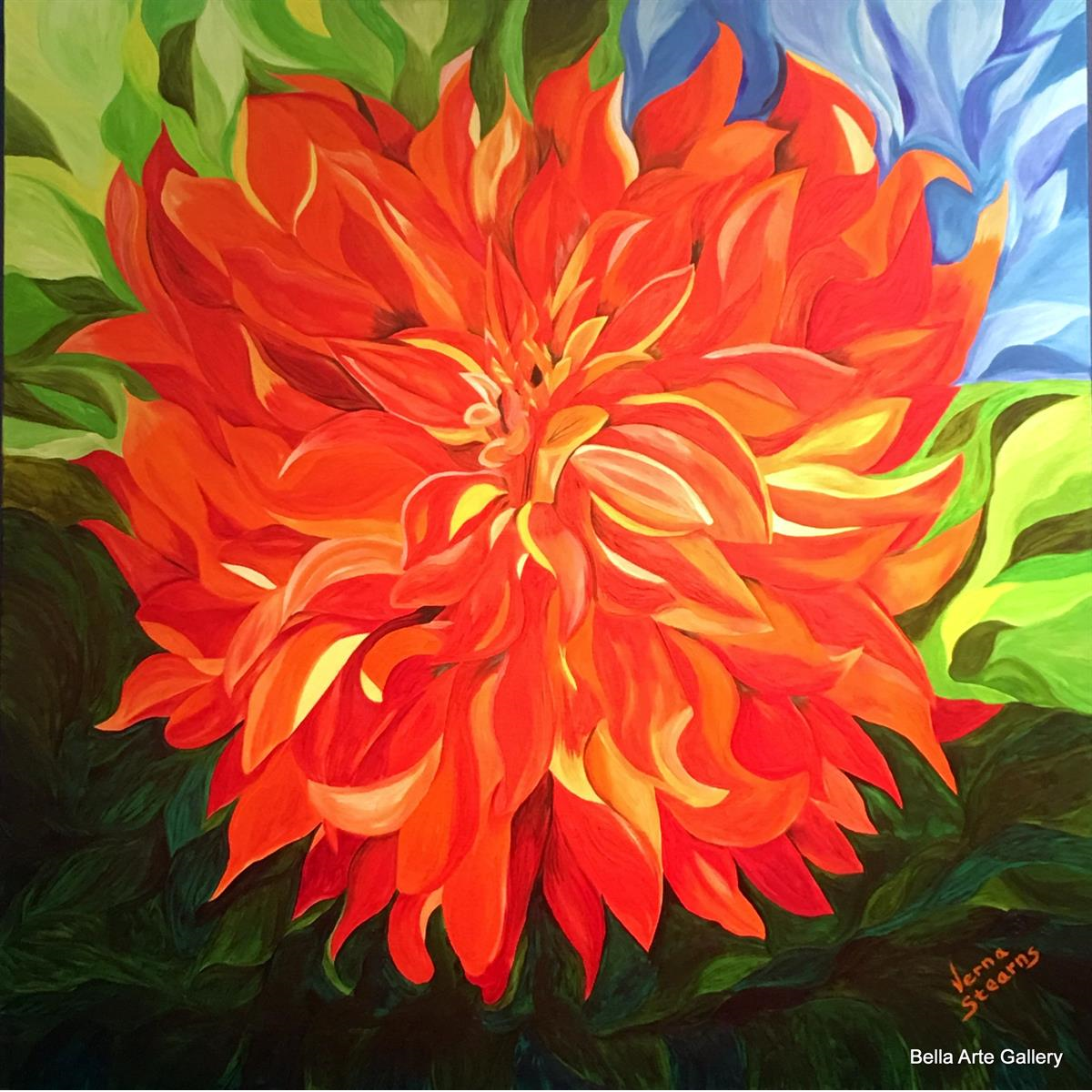 flowers, oil painting, artist Verna Stearns, MS, colorful flowers, large florals, brilliant colors, all about the color