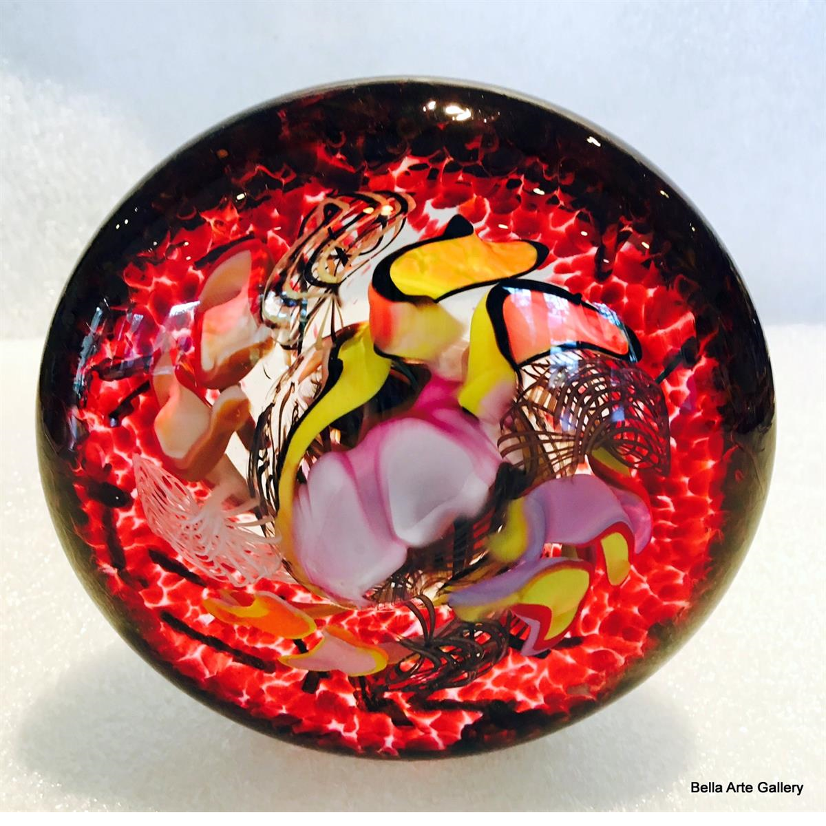 window disk, glass window disk, paperweight, glass artist Valerie Beck, red glass disk, multi-color glass paperweight