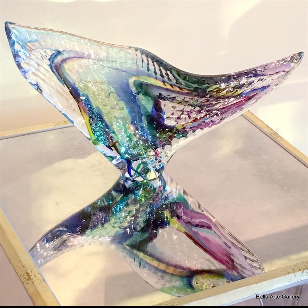 Blown glass , glass sculpture, multi colored, abstract shape glass, Goldhagen art glass studio