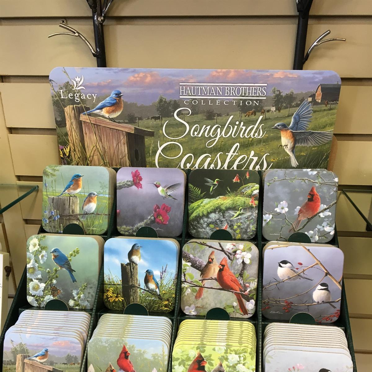 coaster, songbirds, bluebird, cardinal, chickadee, gift, home decor, hummingbird