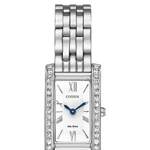 CitizenEX1470-51A stainless steel watch with Roman numerals, Swarovski crystals in bezel, general use water resist