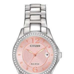 Citizen FE1140-86X stainless steel watch with blush dial, date, Swarovski crystals in bezel, general use water resist