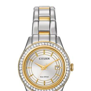 Citizen FE1124-58A two tone stainless watch with date, Swarovski crystals in bezel, yellow accents on dial and bracelet, gene