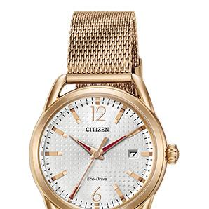 CitizenFE6083-72A rose tone stainless steel watch with silver tone textured dial, date, mesh bracelet, general use water res