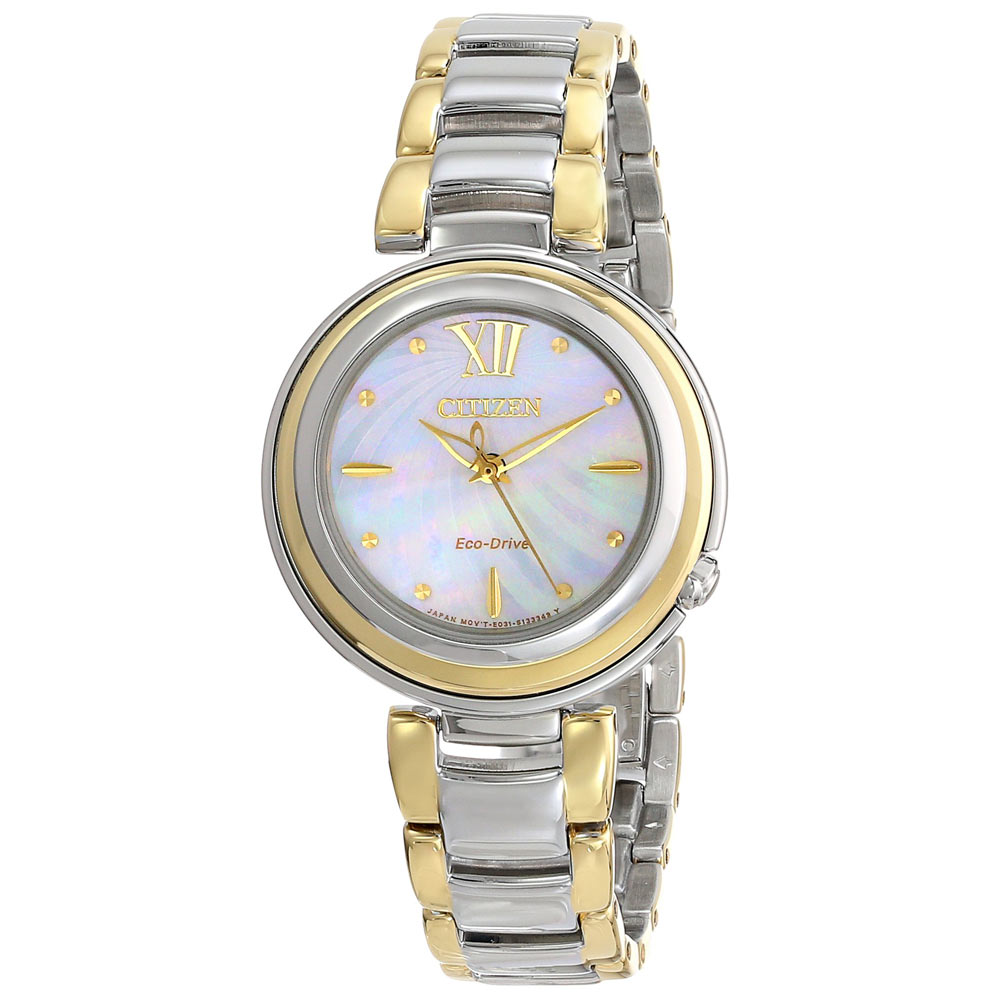 CitizenEM0337-56D Sunrise Eco-Drive two tone stainless steel watch with mother-of-pearl dial, sapphire crystal, 30M water re
