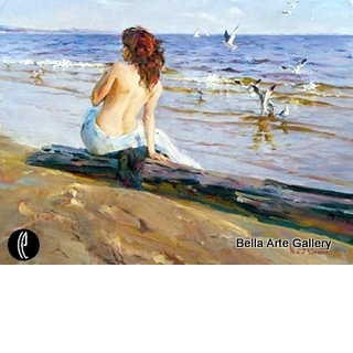 fine art painting, Michael Garmash, Inessa Garmash, beach painting, figurative painting, semi-nude, female figure, waterscape