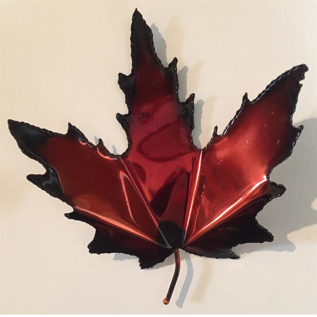 Red and Black Maple Leaf Magnet