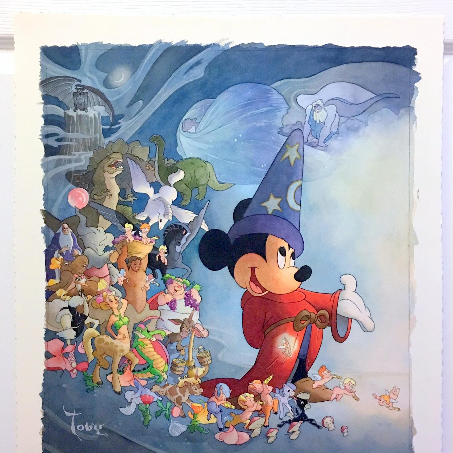 Toby Bluth Disney artist, Fantasia movie, Disney Art ,Sold Out Edition, Rare Disney art, Mickey Mouse, Fantasia characters,