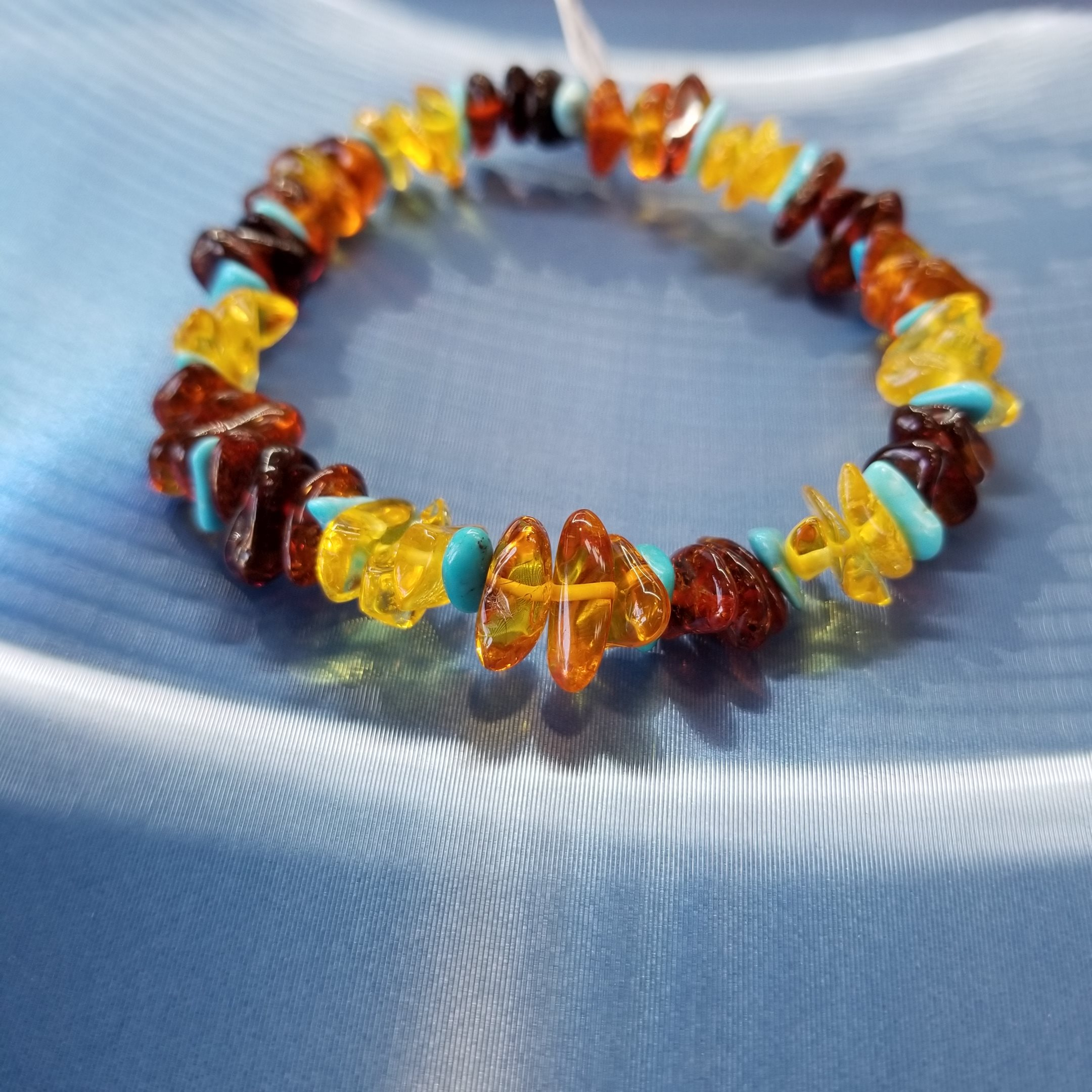 Baltic Amber and Turquoise Bracelet