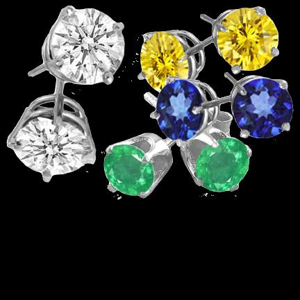 Silver, Earrings, Colored Stones, Diamonds