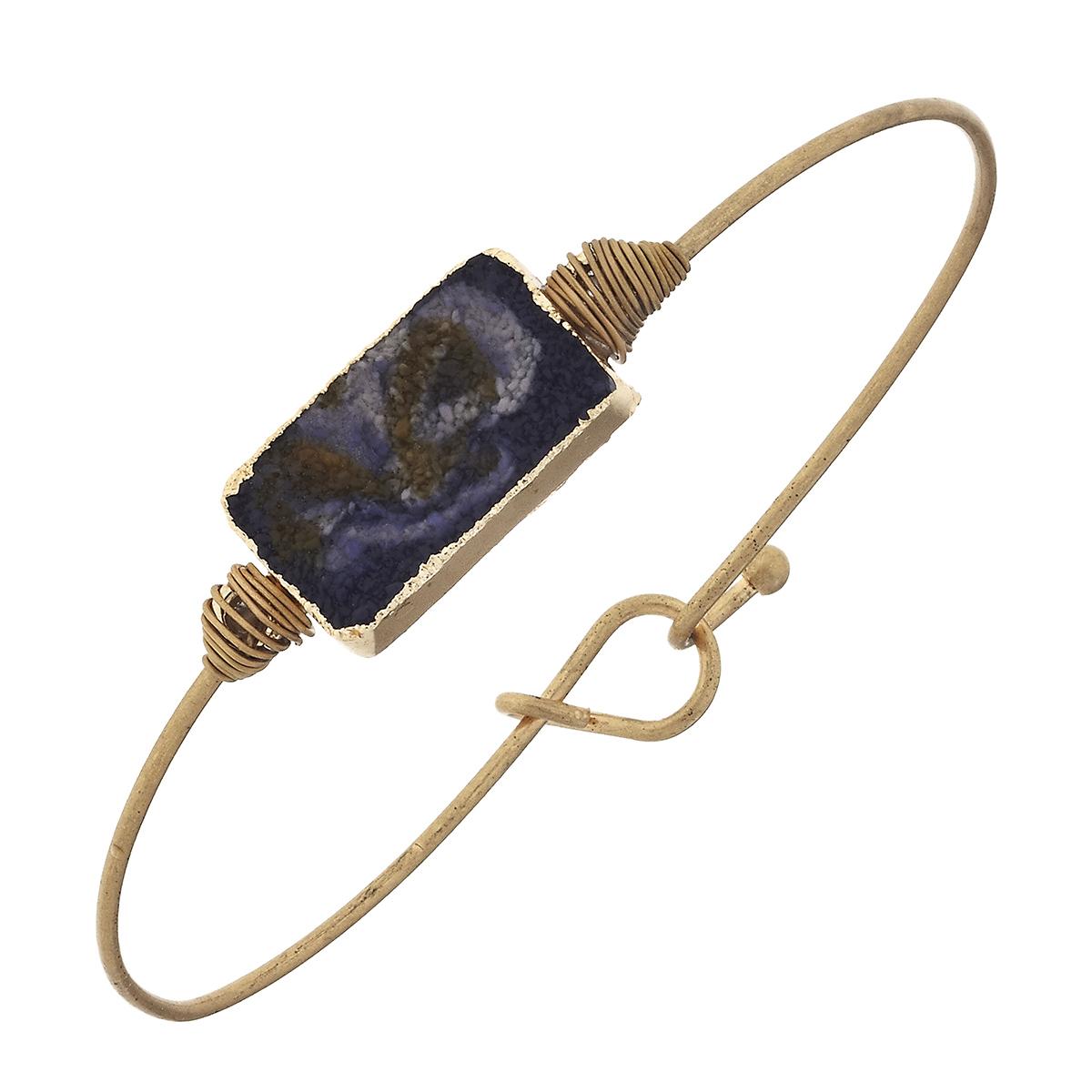 Druzy Latch Bangle Bracelet