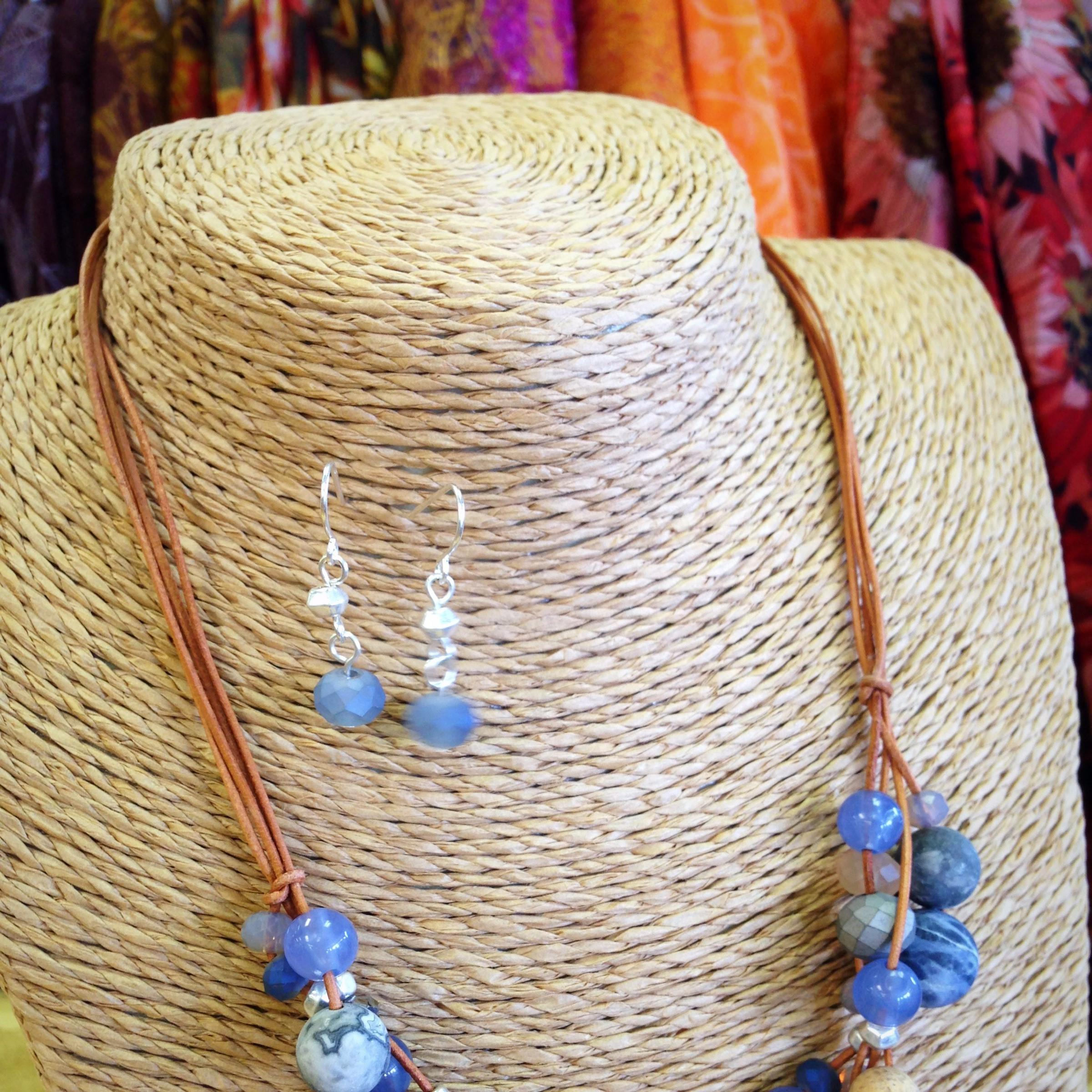 jewelry, leather, sodalite, beads, honed stone