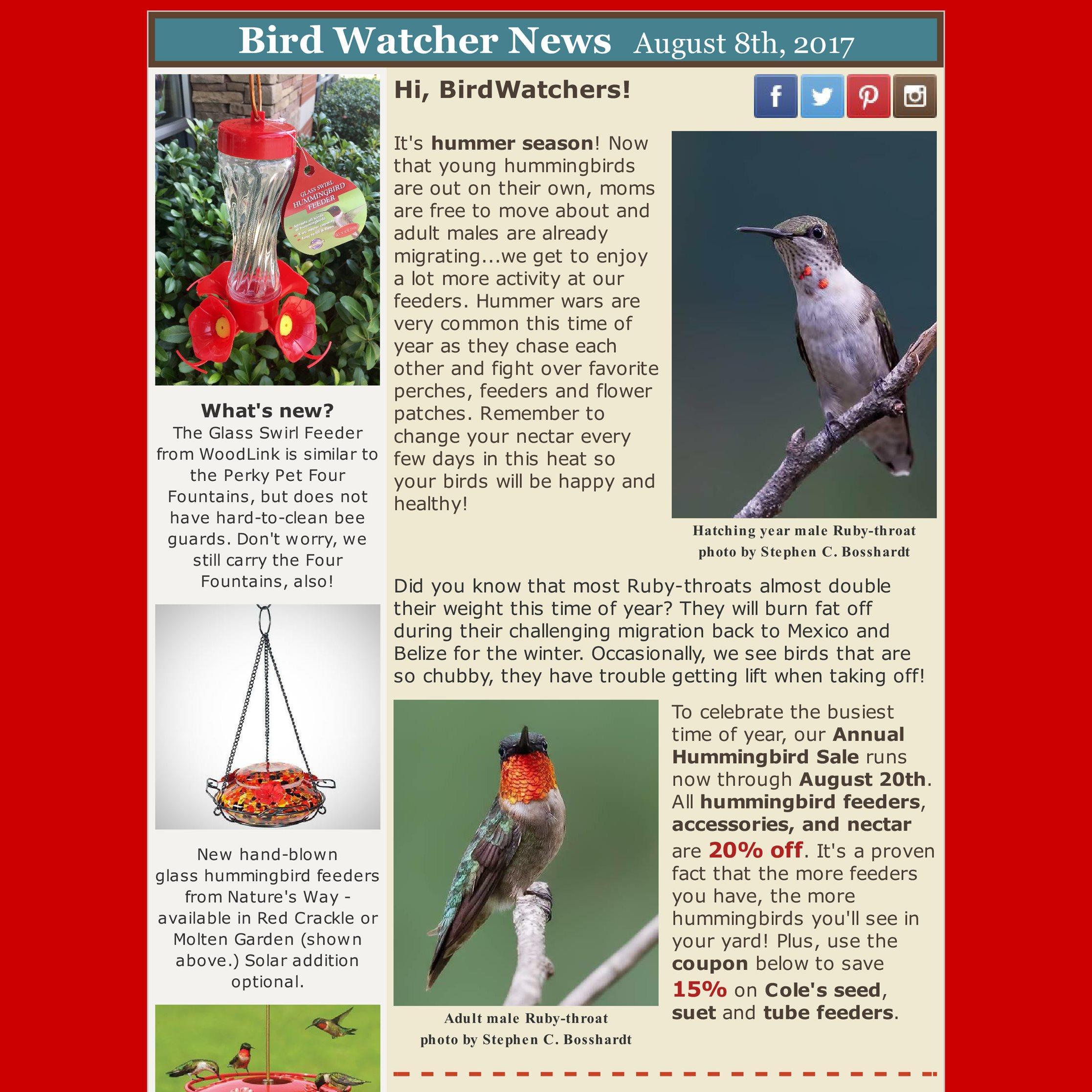 shop local, hummingbirds, sale, coupon, hummingbird feeders, nectar, ruby-throat, event, banding, migration